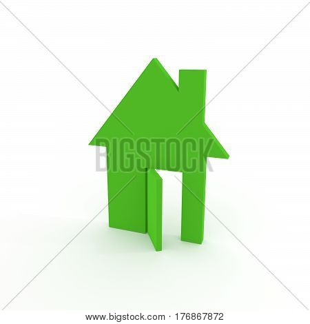 3D green house illustration with open door.