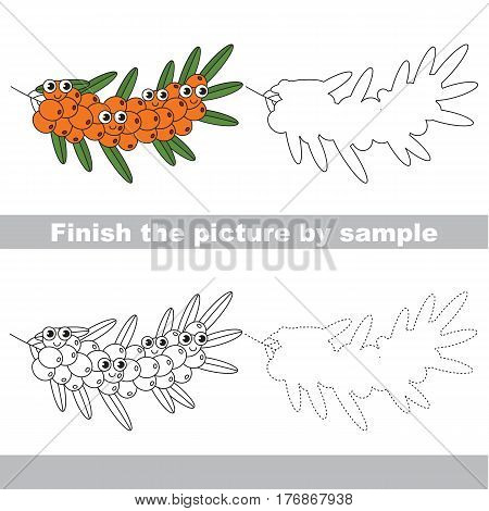 Drawing worksheet for children, the easy educational kid game with simple game level to educate preschool kids. Finish the picture and draw the funny buck thorn branch.