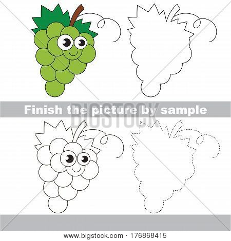 Drawing worksheet for children, the easy educational kid game with simple game level to educate preschool kids. Finish the picture and draw the funny White Grapes.