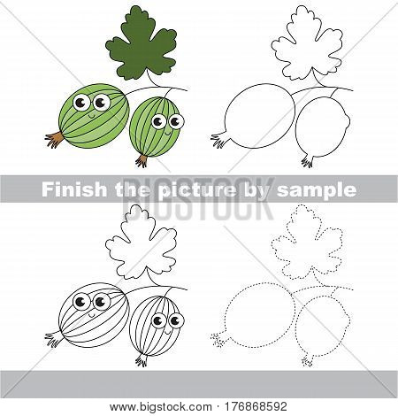 Drawing worksheet for children, the easy educational kid game with simple game level to educate preschool kids. Finish the picture and draw the funny Gooseberry.
