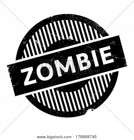 Zombie rubber stamp. Grunge design with dust scratches. Effects can be easily removed for a clean, crisp look. Color is easily changed.