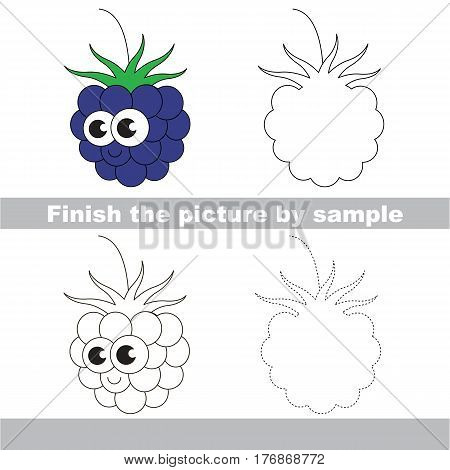 Drawing worksheet for children, the easy educational kid game with simple game level to educate preschool kids. Finish the picture and draw the funny Blackberry.