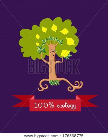 Unusual ecology icon. Merry fabulous lemon tree juggling fruit on dark lilac background. Beautiful packaging for juice. Vector illustration.