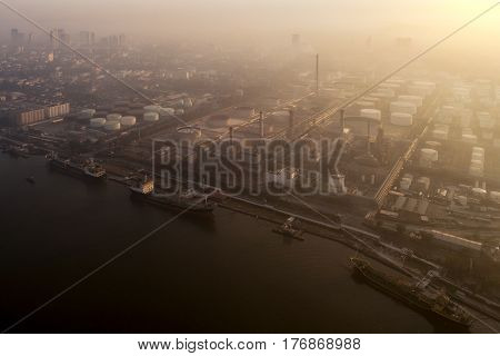Morning Sunrise over petro chemical and oil refinery plant Bangkok Thailand