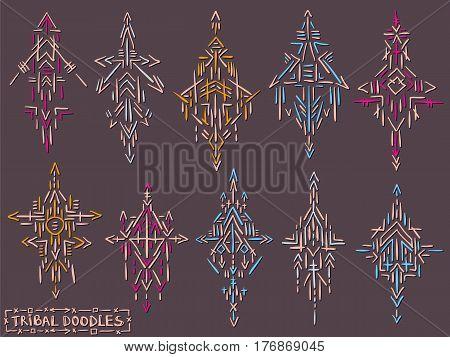 Tribal elements. Sketch shapes. Doodle trendy figures. Tattoo design. Scribble doodles. Simple geometric shapes. Set of alchemy ornaments. Ethnic symbols. Stylish logo or label.
