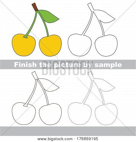 Yellow Cherry to be finished, page to be completed to educate preschool kids with easy kid educational gaming and primary education of simple game level of difficulty.
