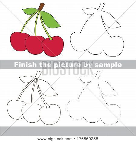 Red Cherries to be finished, page to be completed to educate preschool kids with easy kid educational gaming and primary education of simple game level of difficulty.