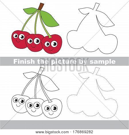 Drawing worksheet for children, the easy educational kid game with simple game level to educate preschool kids. Finish the picture and draw the funny Three Red Cherries.