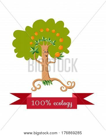 Unusual ecology icon. Merry fabulous apricot tree juggling fruit on white background. Beautiful packaging for juice, jam, marmalade. Vector illustration.