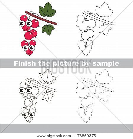 Drawing worksheet for children, the easy educational kid game with simple game level to educate preschool kids. Finish the picture and draw the funny Red Currant.