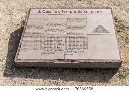 El Castillo or Temple of Kukulkan pyramid info blackboard Chichen Itza Yucatan Mexico