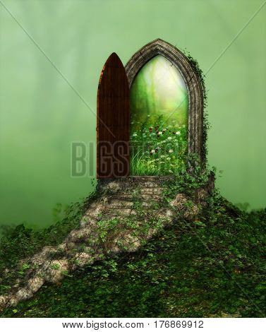 3d rendering of a fantasy doorway portal framed by green vines leading into a idyllic garden.