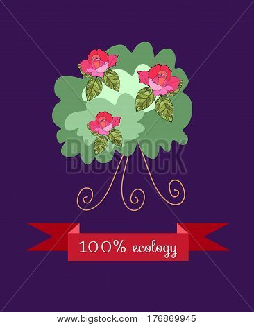 Shrub roses isolated on dark - lilac background with red banner. Beautiful styling. Packaging Design for the rose oil, rose petal jam. Vector illustration.
