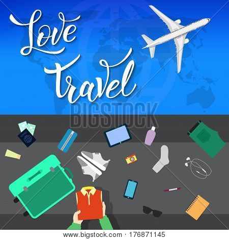 Plane In The Clouds And Original Handwritten Text Love Travel