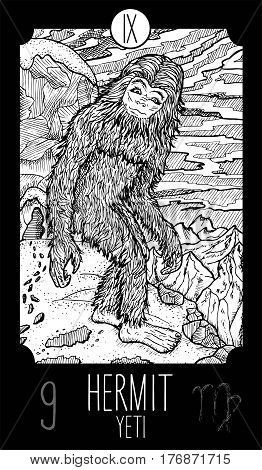 Hermit. 9 Major Arcana Tarot Card. Yeti. Fantasy engraved line art illustration. Engraved vector drawing. See all collection in my portfolio set