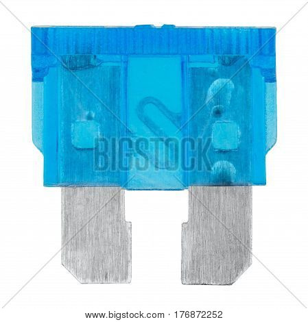 Blue car fuse isolated on white background