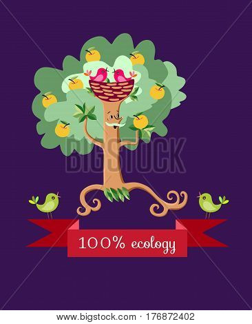 Beautiful wrapping design for fruit jam, juice, marmalade. Apple tree in the form of a stylized elderly mustachioed man in stylized fur hat in form nest. Cute cartoon ecology vector illustration.