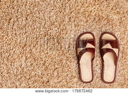 Leather bed slippers stand on the soft fleecy carpet