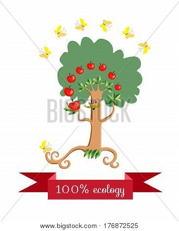 Cheerful apple - tree in form of a stylized mustachioed man juggling fruit on white background. Beautiful label with red banner and yellow butterflies. Vector illustration. Packaging design.