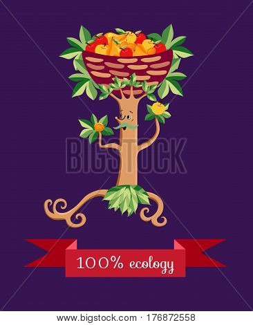 Tree in the form of a stylized mustachioed man with a basket of fruit on her head. Vector illustration. Beautiful packaging design for multifruit juice, jam and marmalade. Apples, pears and apricots.