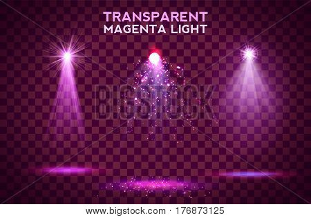 Transparent magenta lighy effects on a dark background. Spotlights, flare, explosion and stars. Vector