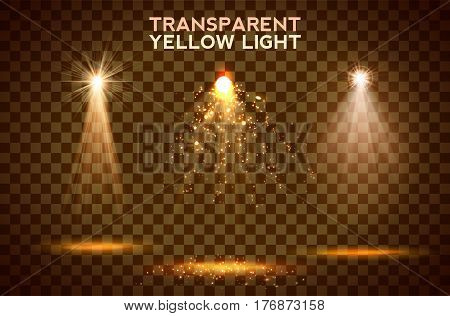 Transparent yellow lighy effects on a dark background. Spotlights, flare, explosion and stars. Vector