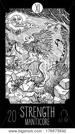 Strength. 11 Major Arcana Tarot Card. Manticore. Fantasy engraved line art illustration. Engraved vector drawing. See all collection in my portfolio set