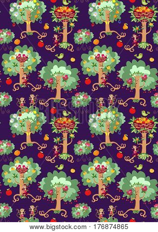 Seamless vector pattern with cute cartoon dancing trees, beautiful birds, rosebushes and cheerful monkeys on dark - lilac background. Print for fabric.