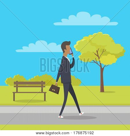 Stroll in city park concept. Man character with briefcase walking in public square and talking on phone flat vector. Urban infrastructure for people recreation. Businessman goes on work through park