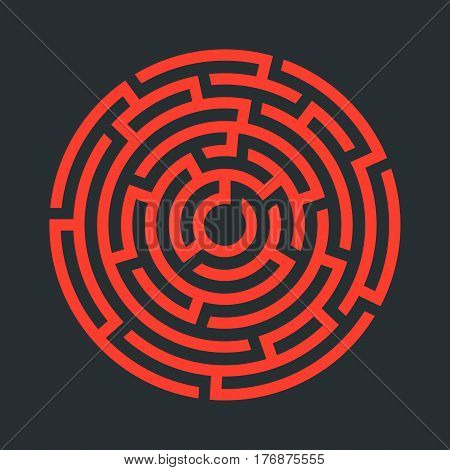 Circle maze icon. Infographic template. Vector illustration.