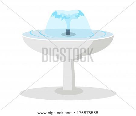 White round fountain with spouting water flat vector isolated on white background. Classic decorative ceramic element for garden or park landscape design illustration. Public fountain with clear water