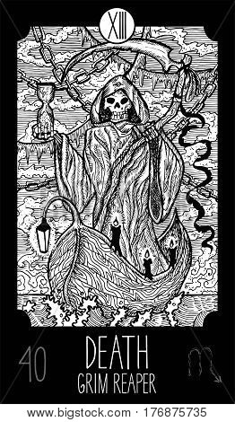 Death. 13 Major Arcana Tarot Card. Grim Reaper. Fantasy engraved line art illustration. Engraved vector drawing. See all collection in my portfolio set