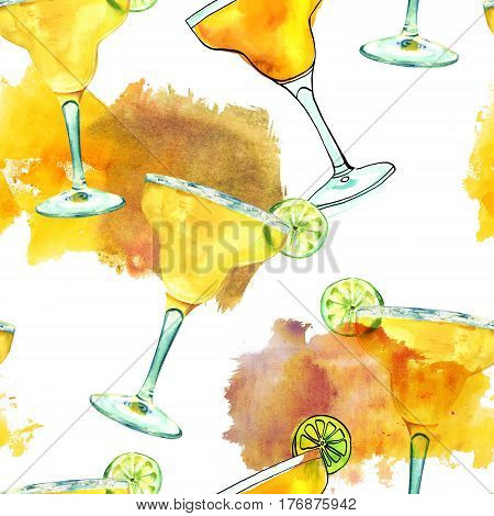 A seamless pattern with watercolour drawings of a Margarita cocktail with a slice of lime, on a white background with textured stains