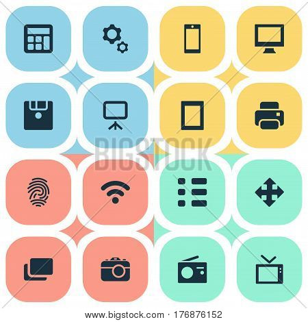 Vector Illustration Set Of Simple Gadget Icons. Elements Touch Computer, Photocopier, Television And Other Synonyms Phone, Wifi And Mobile.