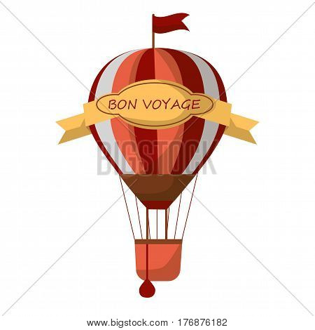 Striped air balloon with sign Bon Voyage isolated on white background. Old way to travel by air vector illustration. Vintage transport for short distance journey. Exciting experience of unusual trip.