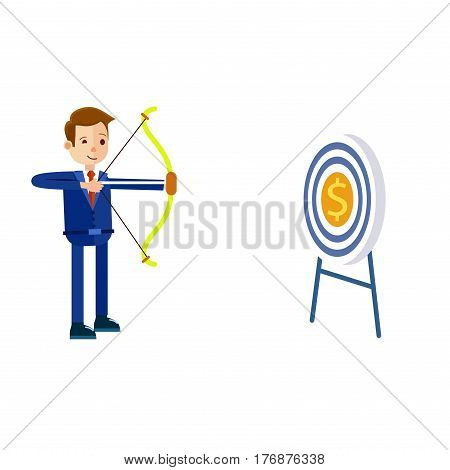 Cartoon businessman in blue suit and red tie hits target in form of dollar with bow and arrow isolated on white background. Symbolic vector illustration about how businessman easily achieves money.