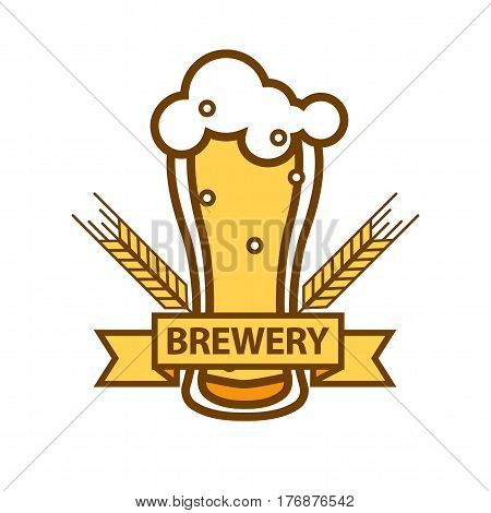Glass of foamy beer with barley ears flat design isolated on white. Yellow ribbon with text brewery. Filled cup with high spume. Retro insignia for pub or malt plant vector illustration for web.