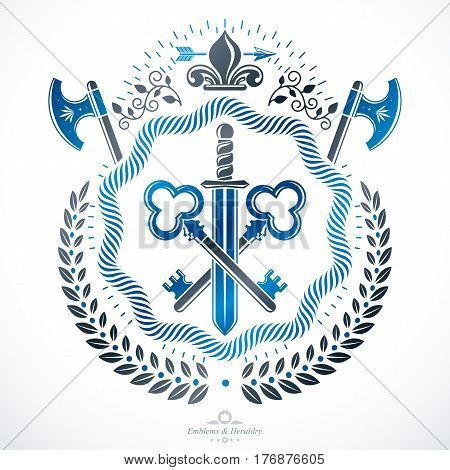 Vintage emblem created in vector heraldic design.