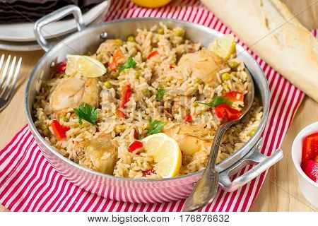 Chicken and rice with vegetables paella