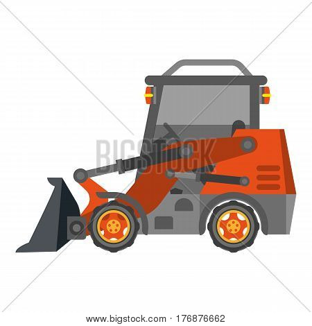 Bulldozer with heap in flat design isolated on white. Orange power tractor machine for earthwork and building. Vector illustration in cartoon style for infographics, websites, mobile app.