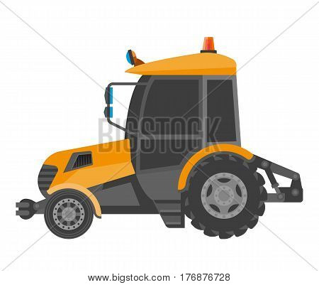 Yellow model of bulldozer close-up realistic figure in cartoon style. Heavy tractor with orange flasher for excavation and building. Vector illustration of powerful agriculture machine in flat design