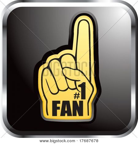 number one fan foam hand on black reflective web button