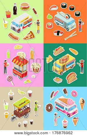 Set of street eatery on wheels concepts. Japanese and mexican national cuisine street restraints, fast food and and sweets snack-bars flat isometric vector. Popcorn and coffee cart store illustrations