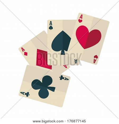 Four aces with black and red suit icon web banner on white background. Playing cards dark spade and club, ruddy diamond and heart. Vector illustration in cartoon style flat design web banner.