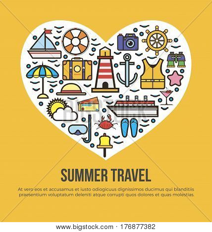 Cruise set of summer travel in shape of heart on yellow background. Vector illustration of sun umbrella, life buoy and vest, travelling suitcase, cruise ship, sea tickets, accessories for beach.