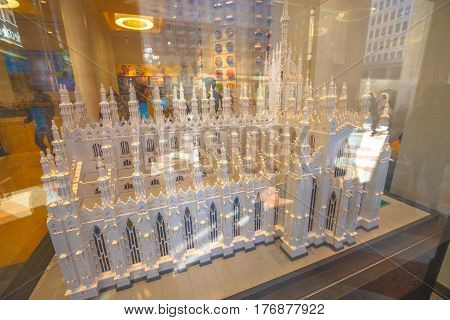 MILAN, ITALY- MARCH 7, 2017: construction model in Lego blocks of the Famous Dome Cathedral the Duomo di Milano. In Lego store of Piazza San Babila square.