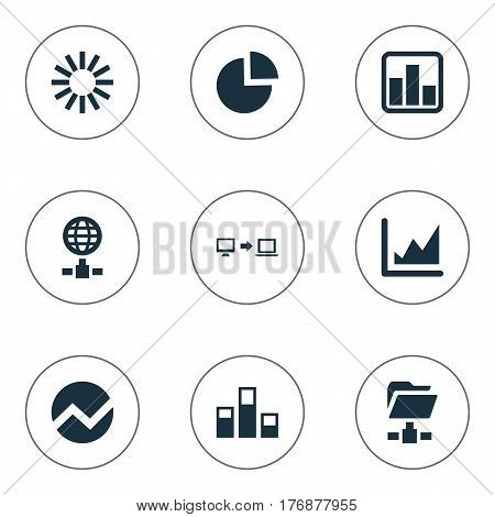 Vector Illustration Set Of Simple Data Icons. Elements Internet Server, Increase Graph, Digital Documnet And Other Synonyms Pie, Chart And Analytics.