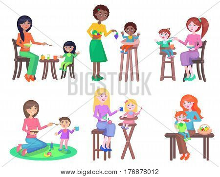 Mothers feeds little children set. Young women gives tasty porridge, fruits and juices their little sons and daughters in bibs isolated vectors. Toddlers appetite and healthy nutrition illustrations