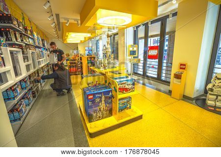 MILAN, ITALY- MARCH 7, 2017: first floor interior of the famous toy store of Milano, Lego bricks. Located in Piazza San Babila square at the end of Corso Vittorio Emanuele II from Piazza Duomo square