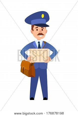 Postman cartoon character in blue uniform delivering letter flat vector illustration isolated on white background. Mailman with mailbag holding paper envelope. Smiling mustached postal courier icon